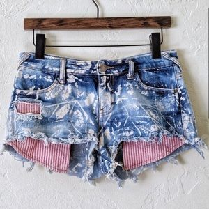Free People Distressed Paint Splattered Shorts